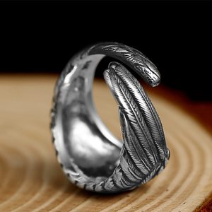 Image 4 - ZABRA Vintage 925 Silver Men Ring Adjustable Eagle Wing Feather Retro Black Punk Biker Man Rings Female Sterling Silver Jewelry