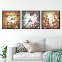 Hot sale Nordic style Ship House people Building Window Art Canvas Poster and Print Canvas Painting Decorative Wall Decor P0069(China)
