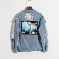 Where Is My Mind Retro Washing Frayed Embroidery Letter Patch Jeans Bomber Jacket Women Light Blue