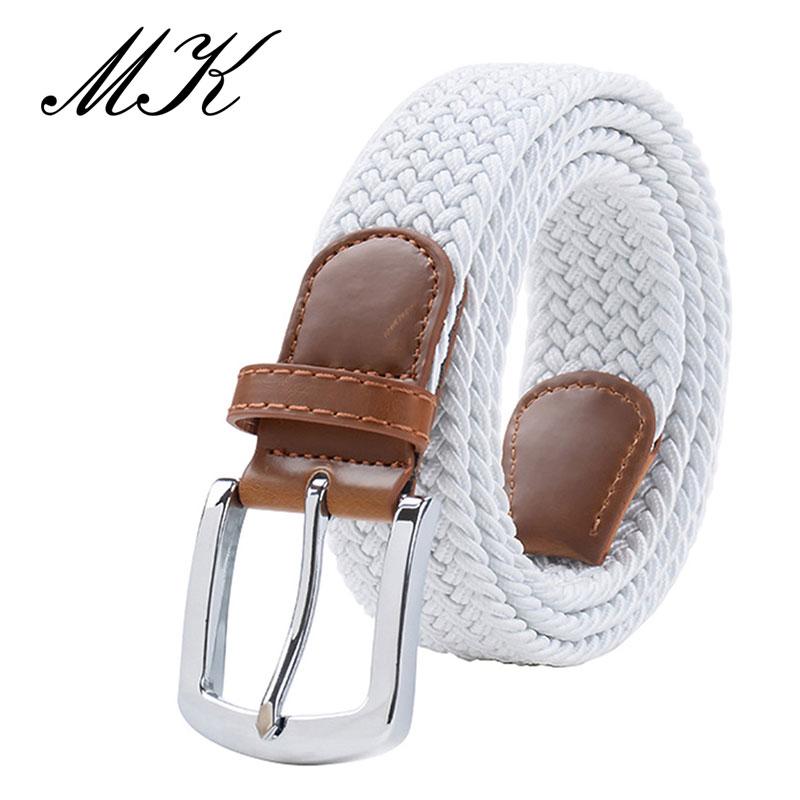 MaiKun мужские ремни с металлической пряжкой булавки эластичный мужской ремень армейский тактический ремень для мужчин - Цвет: White