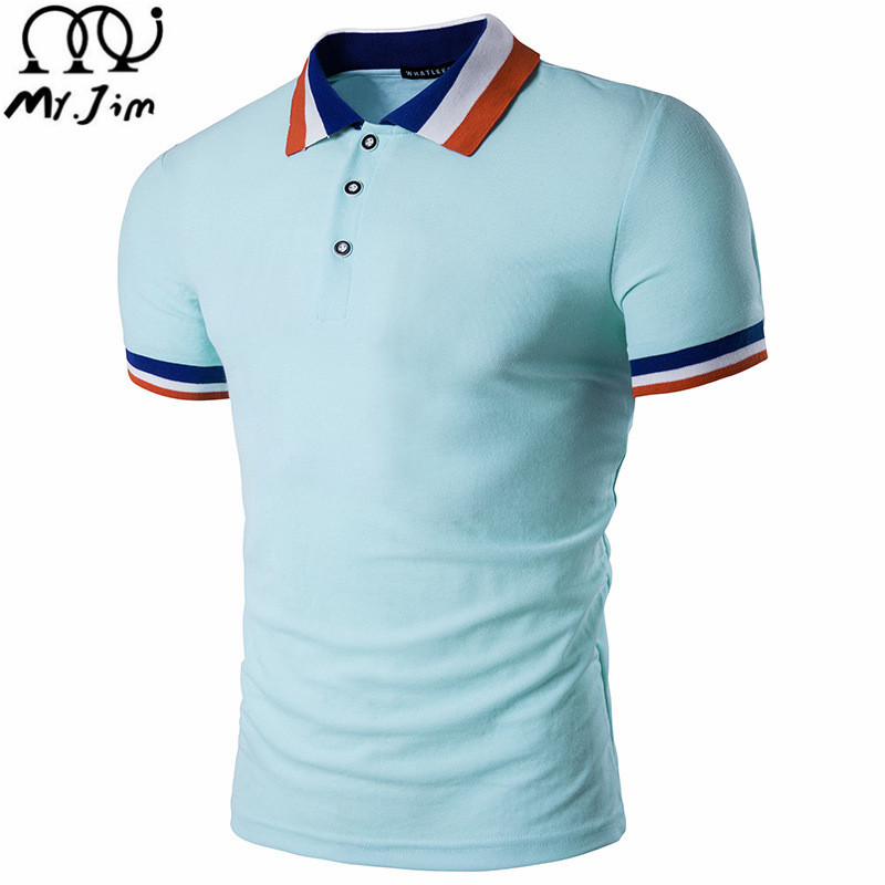 MR.JIM 2017 New Arrival Polo Men Summer Style Casual Breathable Polo Homme Outwear Hip Hop Solid Knitted Quality Men Polo Shirt