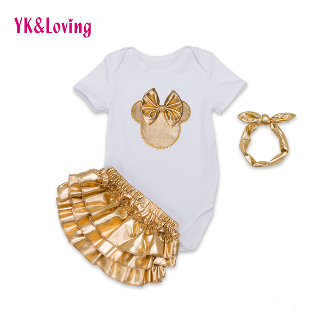 Newest Infant Girl Clothing 3pcs Sets Black Cotton Rompers Golden Ruffle Bloomers Shorts Headband Baby Newborn Clothes