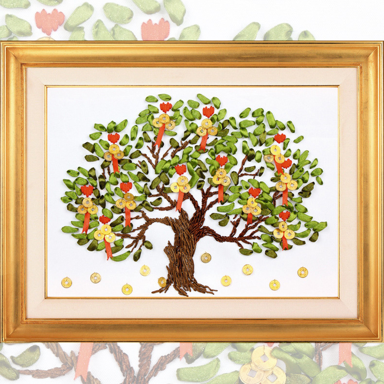 Diy ribbon embroidery money tree d painting