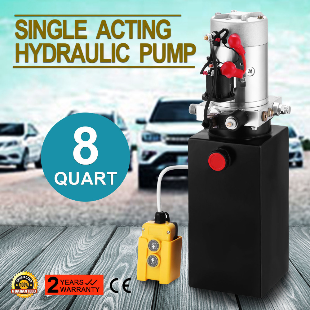 US $251 6 11% OFF|Single Acting Hydraulic Pump 12v Dump Trailer 8 Quart  Metal Reservoir for Dump Trailer-in Pumps from Home Improvement on