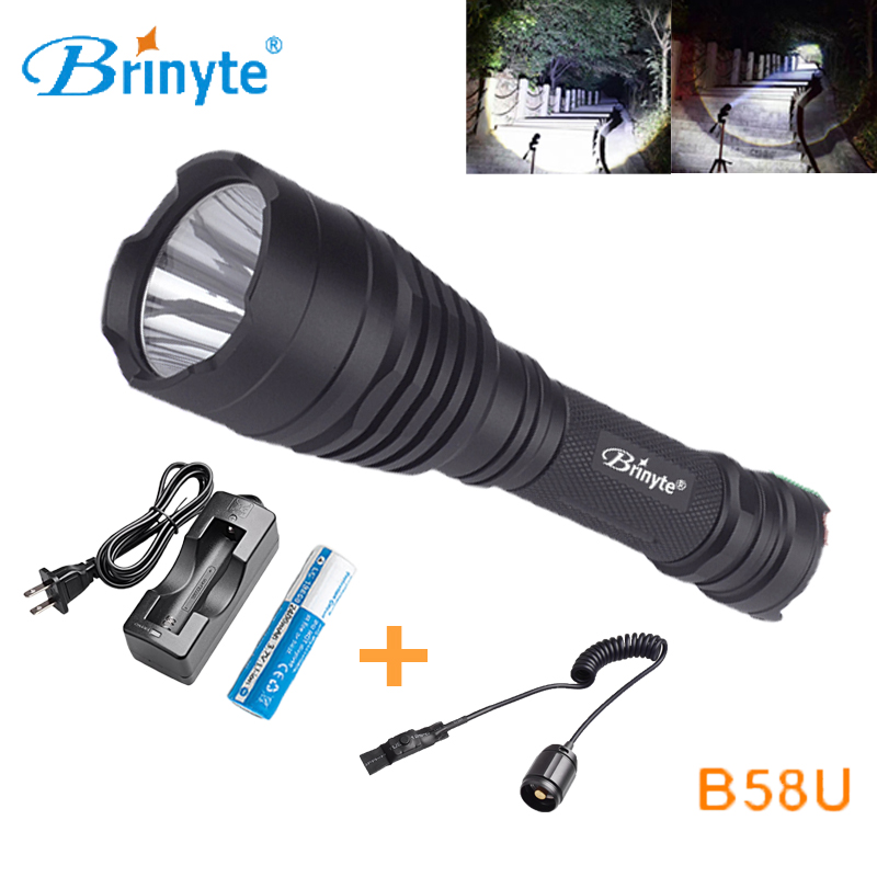 Free Shipping Brinyte B58U Cree XM-L2 LED Rechargeable LED Hunting Flashlight with Remote Switch 18650 Battery and Charger brinyte b58u best cree xm l2 3 colors beam led hunting flashlight torch with red green white module remote switch and gun mount