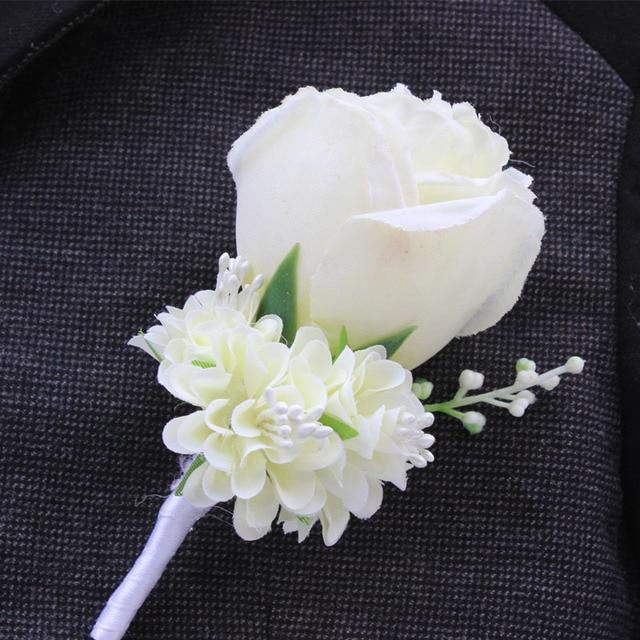 Best Man Wedding Boutonniere In Ivory Purple White Blue10