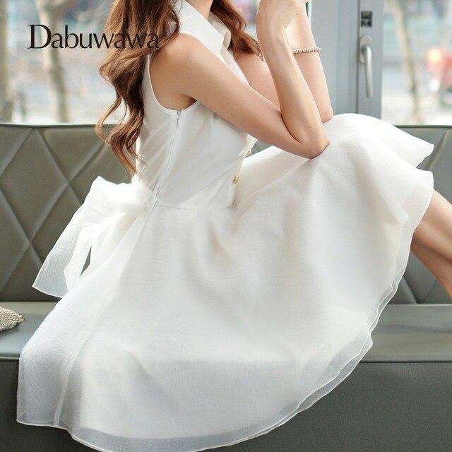 Dabuwawa Summer High Waist Dresses Turn-down Collar Sleeveless Tulle Dress  White Elegant Dresses For Petite Women  D15BDR086 230883027