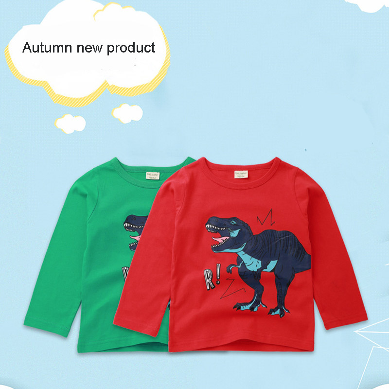 1dd3aabbf 2018 new children's long-sleeved T-shirt dinosaur pattern top boy girl  round neck cartoon print T-shirt autumn kids clothing | Mikes Wholesale Mart