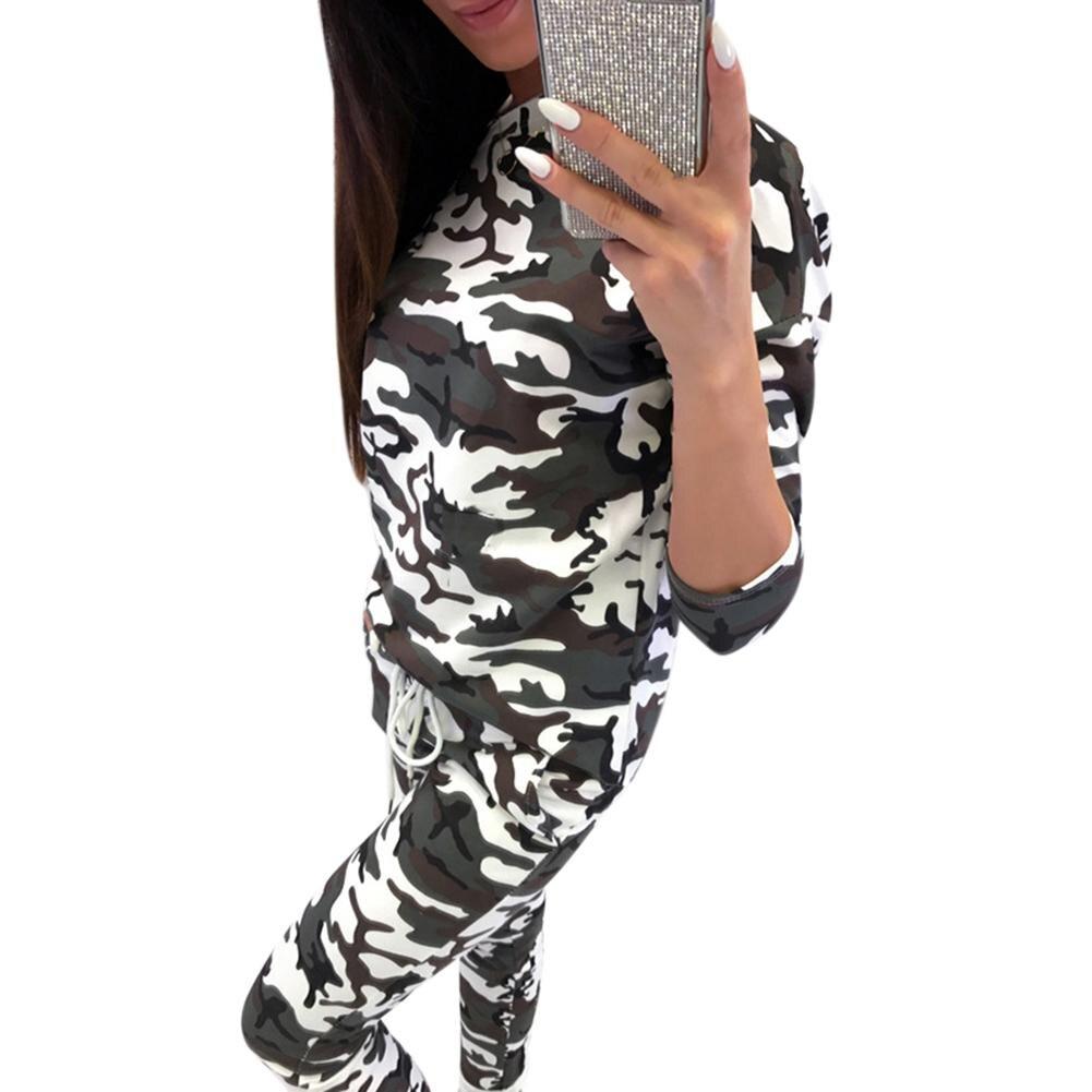 2018 New Fashionable Tracksuit Women 2 Pieces Set Outwear Sweatsuit Zipper Striped Causal Leopard Camouflage Long Sleeve Pocket