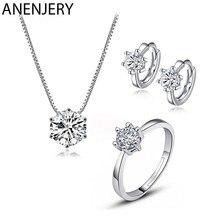 ANENJERY – ensemble collier + boucles d'oreilles + bague en Zircon pour femmes, bijoux de mariage éblouissants en argent Sterling 925 avec 6 griffes AAAAA