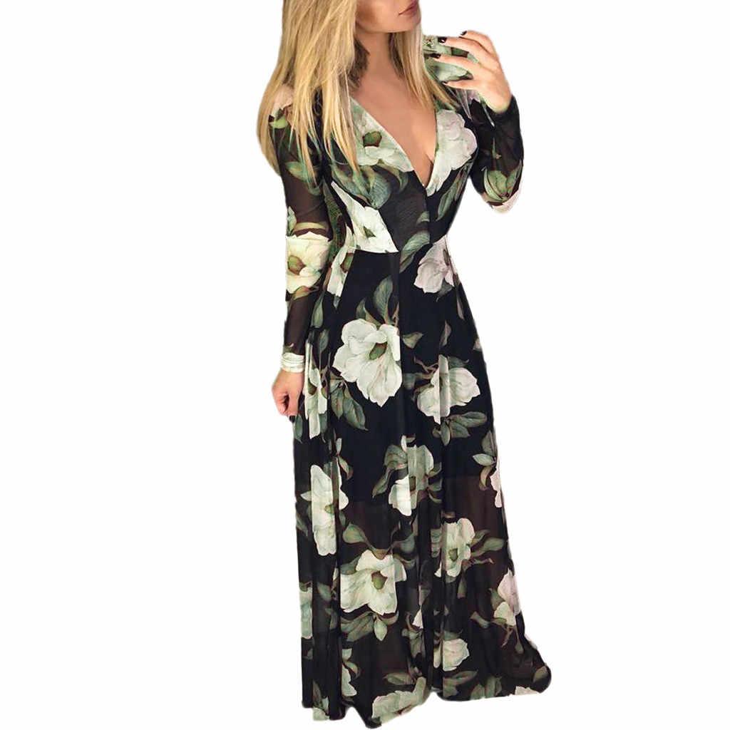 9a8686002d827 Dress Women Floral Print Long Sleeve High Waist V-neck Zipper Long Dress  Maxi Dresses