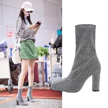 2017 Spring and Autumn new short boots women's shoes sexy high-heeled shoes stretch boots