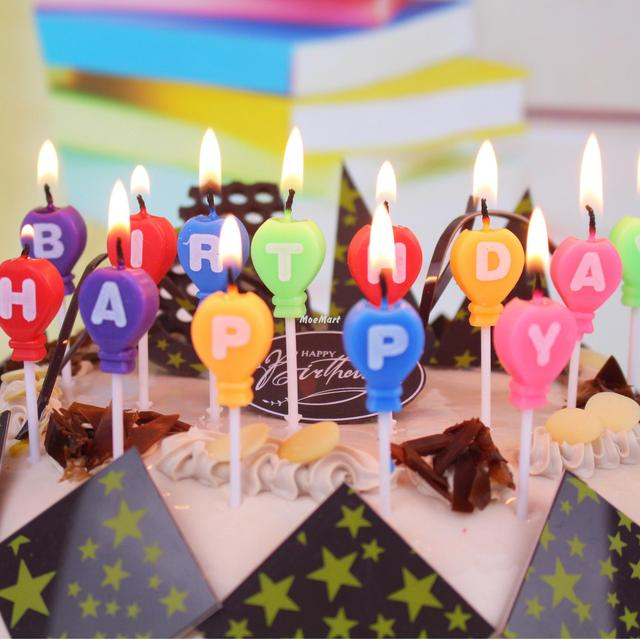 Balloon Letter Candle Happy Birthday Children Cake Decorative Candles Party Supplies Decoration Cupcake