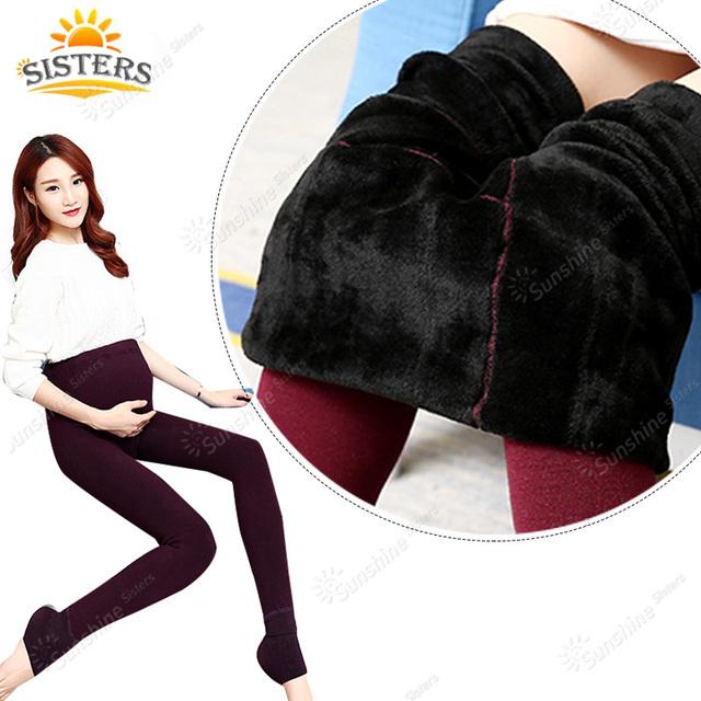 Novas Roupas de Cintura Alta Leggings Engrossado Com Veludo Mulheres Grávidas Leggings Maternidade Roupas de Inverno Calças Calças Quentes 450g