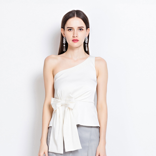 21c913f9ad6 yigelila 7171 fashion women tops solid white blouse bow sleeveless one-shoulder  tank tops free shipping