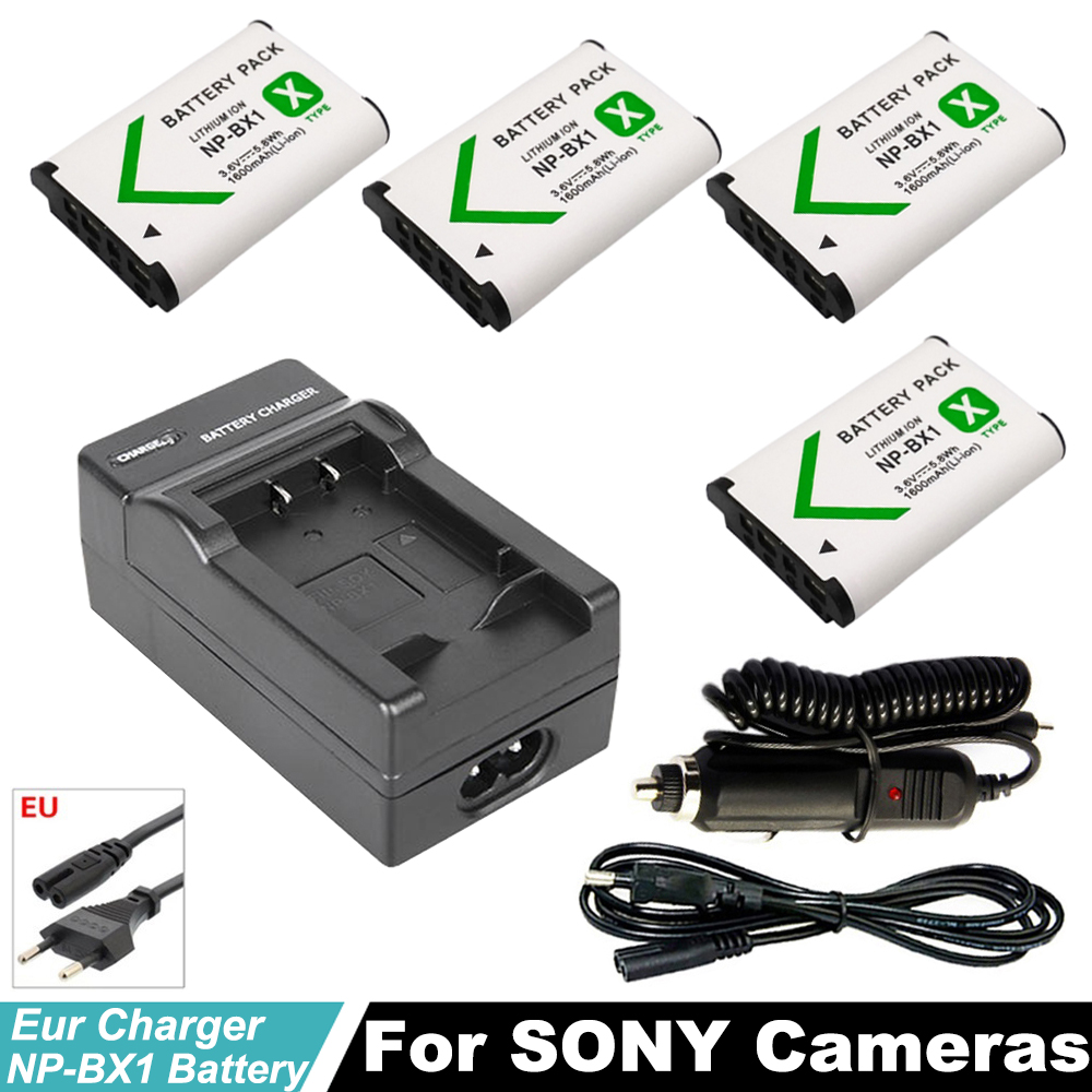 4x NP-BX1 NPBX1 np bx1 <font><b>battery</b></font> +EU Car Charger for <font><b>Sony</b></font> DSC-RX100 DSC-WX500 HX300 WX300 <font><b>HDR</b></font> AS100v AS200V AS15 AS30V <font><b>AS300</b></font> M3 M2 image