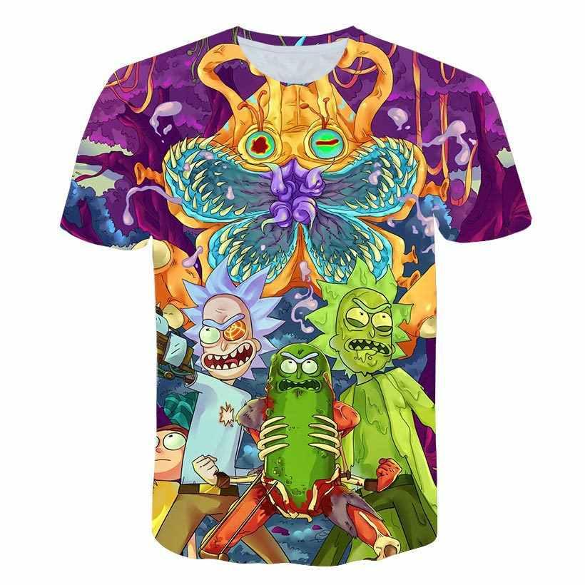 Мужская модная футболка с 3D принтом Рикки и Морти, мужская повседневная футболка в стиле хип-хоп с мультипликационным принтом, топы, 6XL Homme, футболка, лето 2018, WMT27