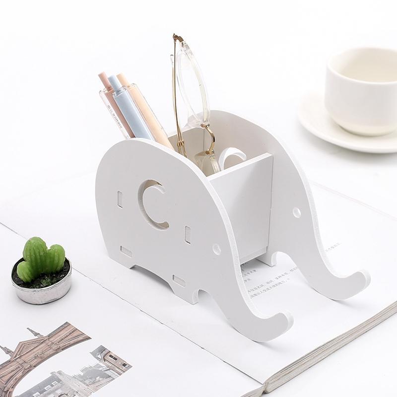 Einfach Multifunktionale Holz Lagerung Box Elefanten Förmigen Halter Container Geburtstag Präsentieren Geschenk R20 SchüTtelfrost Und Schmerzen Schreibtisch Set Office & School Supplies