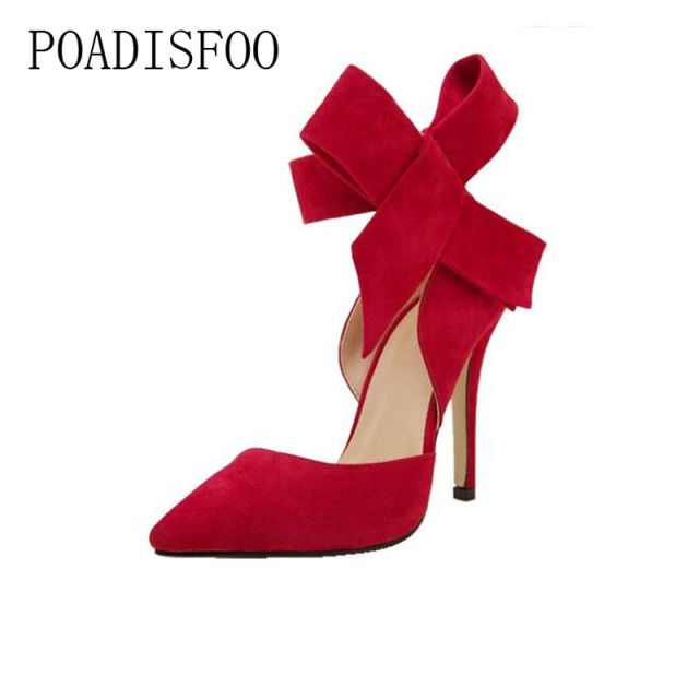 e721d4cab177 2018 New Pointed High Heels Female Fine With Single Shoe Shallow Mouth Sexy  Bow women shoes Nightclub .ZL-621
