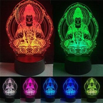 Buda 7 mudando a cor Night Lamp Atmosfera 3D Bulbificação ilusão visual Do Coração de Luz LED para as crianças presentes de Aniversário Natal brinquedo