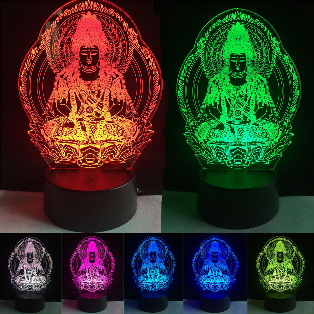 Buddha 7 color changing Night Lamp 3D Atmosphere Bulbing Light Heart visual illusion LED for kids toy Christmas Birthday gifts color changing dolphin shape 3d visual led night light