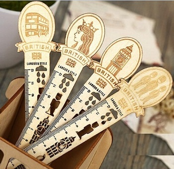 NEW  Vintage England  Style  Hollow Wooden Ruler Bookmark 12 CM Metal Straight Ruler