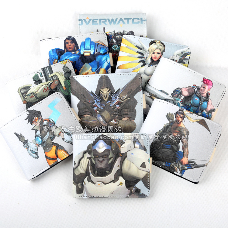 GAME Overwatch OW Hero Death/Genji/D.VA/Angel/MCCREE /TRACER Short Cartoon Wallet cosplay Design With Card Holders purse new patterns game genji ow metal weapons zinc alloy exquisite darts rotatable ninjia professional cosplay props kids gift in box