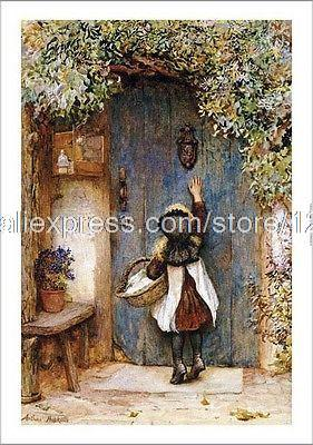 Arthur Hopkins Visitor Girl Knocking Door On hand painted halloween wall mural patterns decor paintings modern & Arthur Hopkins Visitor Girl Knocking Door On hand painted halloween ...
