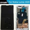 Alta calidad 100% probado negro 1020 lcd display + touch screen digitalizador asamblea con marco para nokia lumia 1020