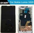 Alta qualidade 100% testado preto 1020 display lcd + touch screen digitador assembléia com frame para o nokia lumia 1020