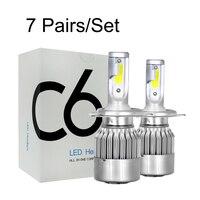 Wholesale 7 Pairs H4 HB2 9003 Hi/Lo beam C6 LED Car Headlights COB Auto Headlamp Bulbs 6000K Fog Lamps Car Styling Lights
