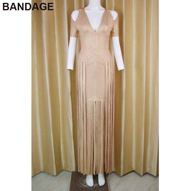 0ac88d3b62 Leger HL Women Dress Short Sleeve Cold Shoulder Foil Print Fringed Hem V  Neck Gold Evening Party Bandage Metallic Maxi Dress