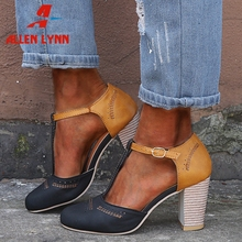 ALLENLYNN New Hot Sale Patchwork High Heels Sandals Women 2019 Summer Large Size 35-43 Fashion Sewing Shoes Woman