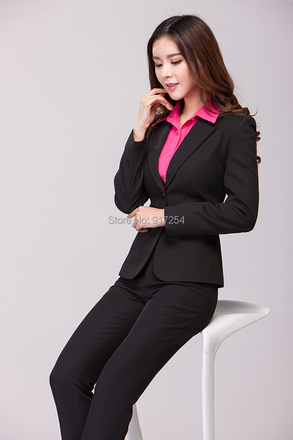 d0244870571 New 2015 Autumn Winter Plus Size Elegant Femininos Professional Business  Work Wear Office Pant Suits Jacket