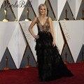 La 88ª Abendkleid vestidos de la Alfombra Roja Vestidos de Oscar 2016 Una Línea de Volantes de Encaje Negro Elegante Vestidos de La Celebridad Jennifer Lawrence