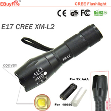 flashlight 18650 torch CREE L2 Led waterproof ZOOM Light EBuyFire E17 XM-L2 2300Lumens Lamp 3x AAA battery Flash led lighting