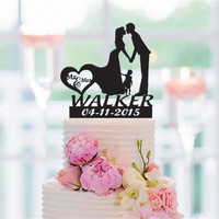 Family Style Personalized Cake Topper Kissing Bride and Groom with a Girl Wedding Topper Birthday Cake Topper Cake Decorating