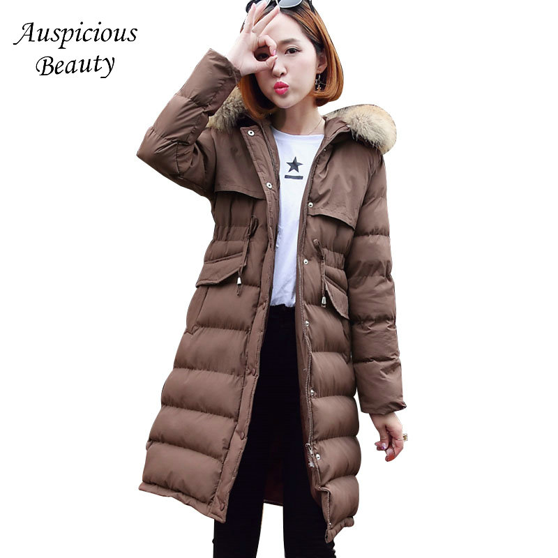 2017 New Fashion Winter Women Long Jacket Parkas Hooded Fur Collar Coat Slim Warm Cotton Padded Thick Parkas Lady Outwear QJW104 new collocation winter warm parkas hooded pockets zipper solid thick women coat slim long flare slim cotton padded lady jackets