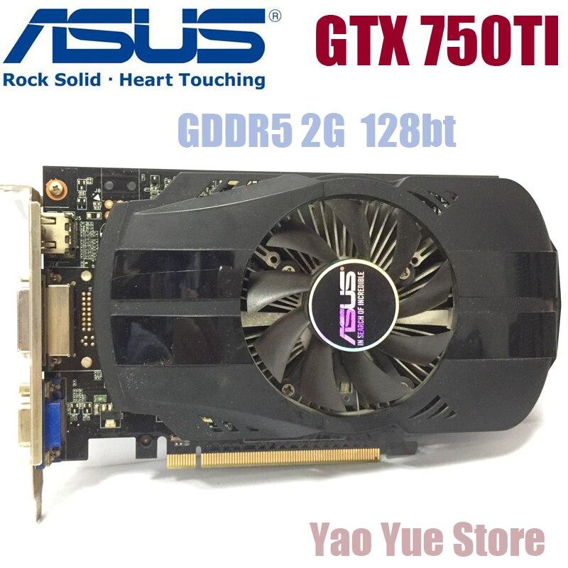 Asus GTX 750TI GTX-750TI-OC-2GB GTX750TI 2G D5 DDR5 128 Bit PC Desktop Placas Gráficas PCI Express 3.0 computador Placa Gráfica cartões