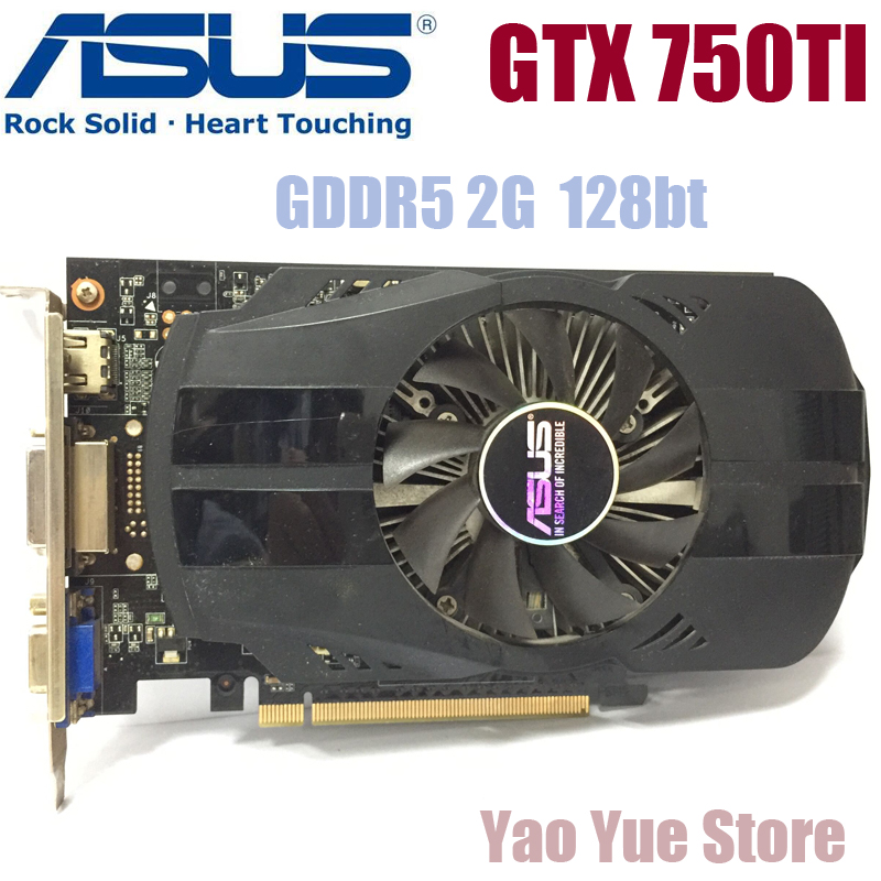 Asus GTX-750TI-OC-2GB GTX750TI GTX 750TI 2G D5 DDR5 128 Bit PC Desktop Graphics Cards PCI Express 3.0 computer Graphics Cards lan baoshi сапфир rx550 2g d5 platinum edition oc 1206mhz 7000mhz 2gb 128bit gddr5 dx12 независимой игровой графики