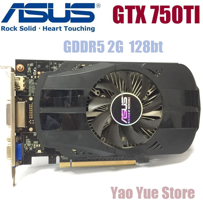 Asus GTX-750TI-OC-2GB GTX750TI GTX 750TI 2G D5 DDR5 128 Bits PC De Bureau Cartes Graphiques PCI Express 3.0 ordinateur Graphique cartes