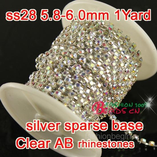 Klar klar ab Rhinestone Cup Kæde firkantet krystal SS28 1 yard top - Kunst, håndværk og syning
