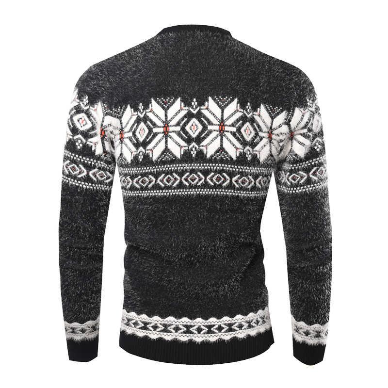 Christmas Sweaters For Men.Fashion Jacquard Design Knitting Cashmere Sweater Men 2018 Autumn Winter Slim Fit Pullovers Mens Christmas Sweaters Pull Homme