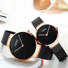 Часы Для женщин loreo фирменные Элегантные Простые часы модные женские кварцевые часы мужской Повседневное Для мужчин Наручные часы пару часов