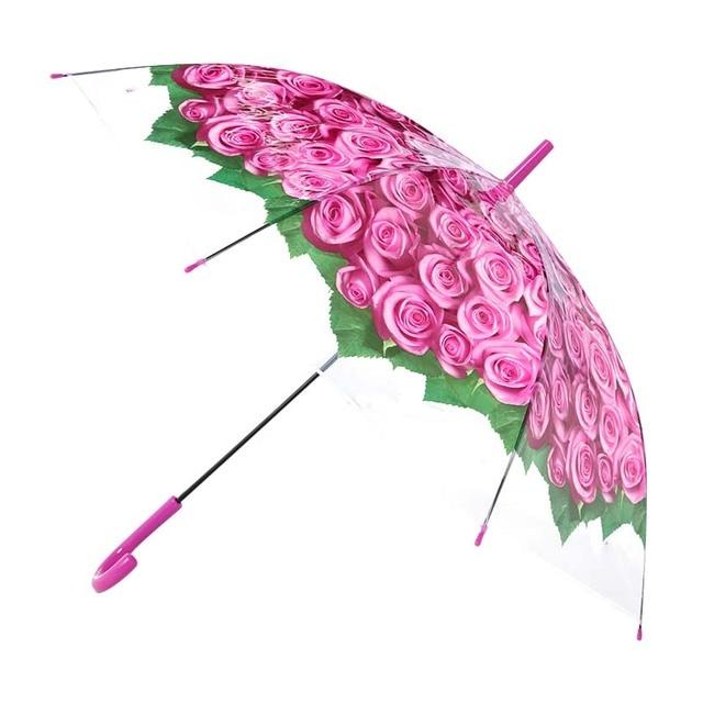 LIBERAINY прозрачный розовый дождливой погоды с длинной ручкой зонтик Свадебная мода девушка женщина милый декоративный Рисунок красный синий фиолетовый
