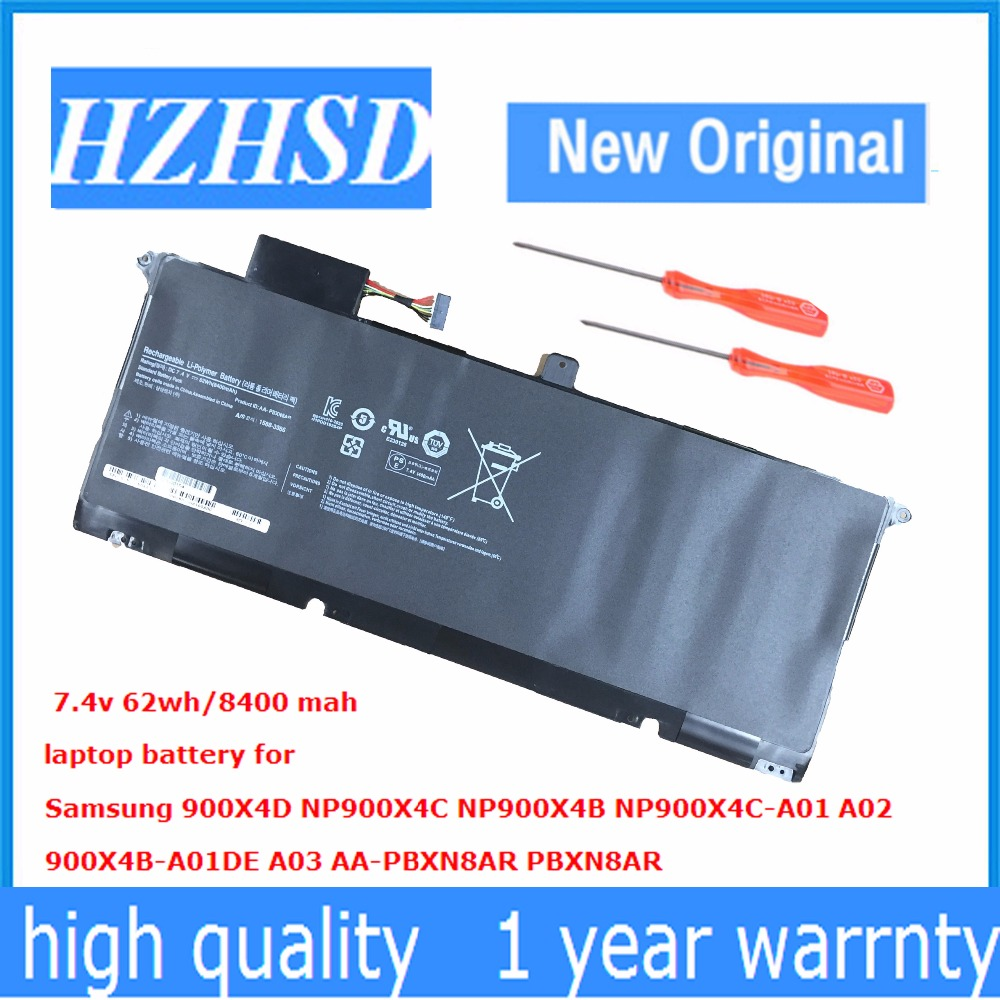 7.4V 62Wh New AA-PBXN8AR Laptop Battery for Samsung 900X4D NP900X4C NP900X4B NP900X4C-A01 A02 900X4B-A01DE A03 new 7 4v 8400mah 62wh aa pbxn8ar battery for samsung np900x4 900x4b a01de 900x4c a01 900x4b a02us free shipping
