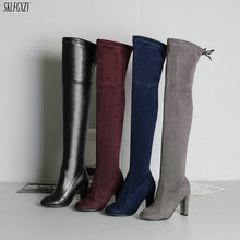 Hot selling autumn women over knee thigh-high boots womens European fashion comfortable high-heeled shoes size 43