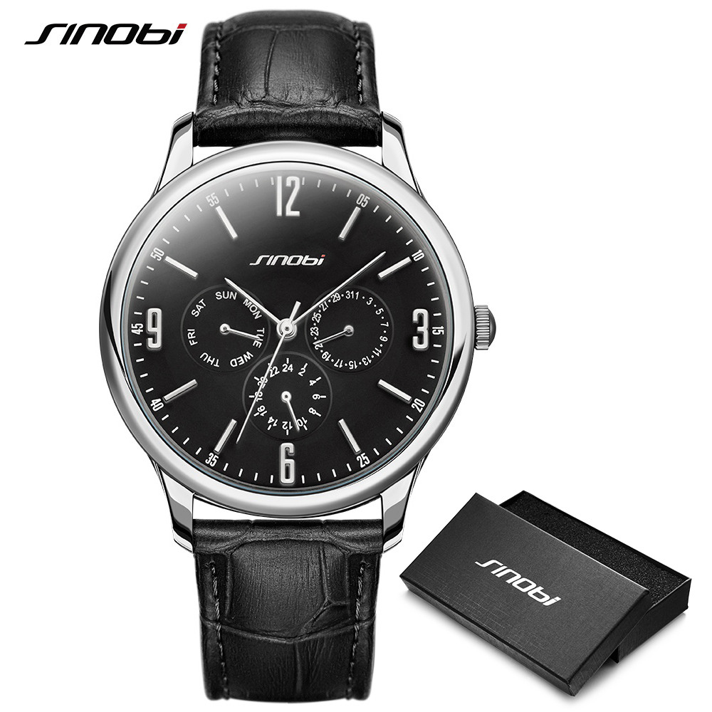 Reloj SINOBI Slim Quartz Wrist Watch Leather Wristband Mens Watches Top Casual Geneva Watch Men Wristwatches Relogio Masculino