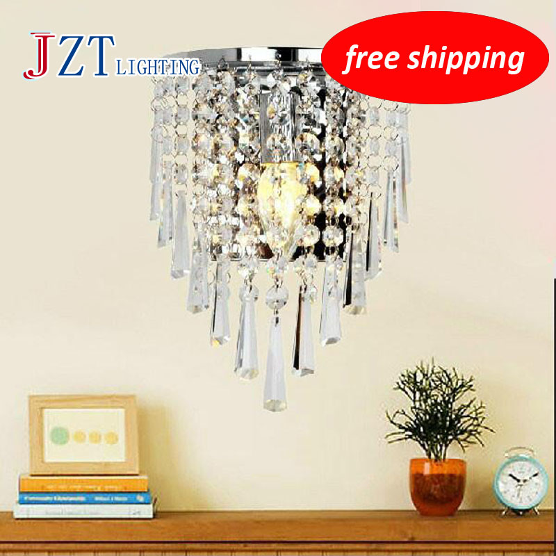 ФОТО T Luxury Crystal Modern Wall Lamps American Style Aisle Porch Indoor Light With 3W E14 LED Bulbs For Corridor Free Shipping