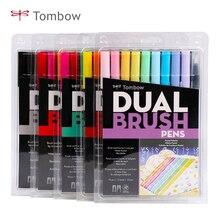 TOMBOW ABT çift fırça kalemler sanat Markers 10 renk seti çift kafa suluboya Marker kalem seti yazı, çizim, eskiz